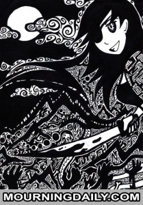 Sharpie Drawing - Anahita  From The Hunted